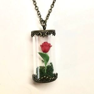 Glass incased rose necklace